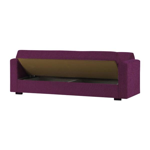 Fioletowa trzyosobowa sofa rozkładana ze schowkiem Esidra Relax