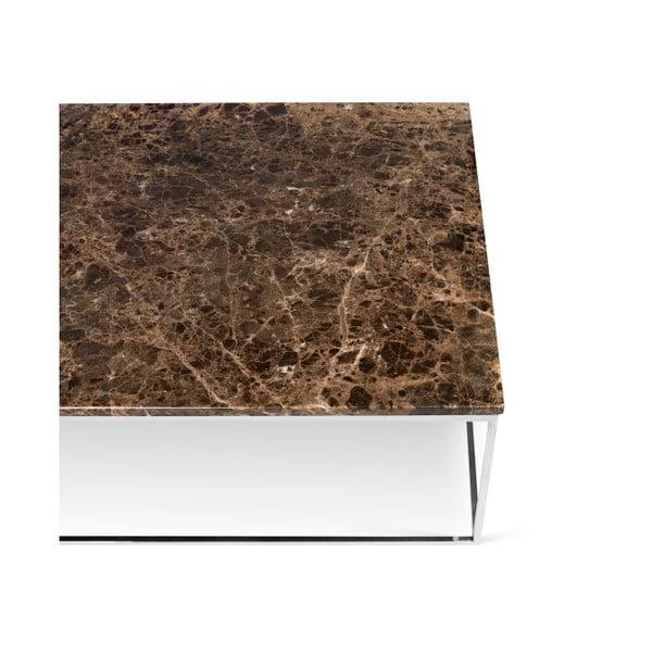 Brązowy stolik marmurowy z chromowanymi nogami TemaHome Gleam, 120 cm