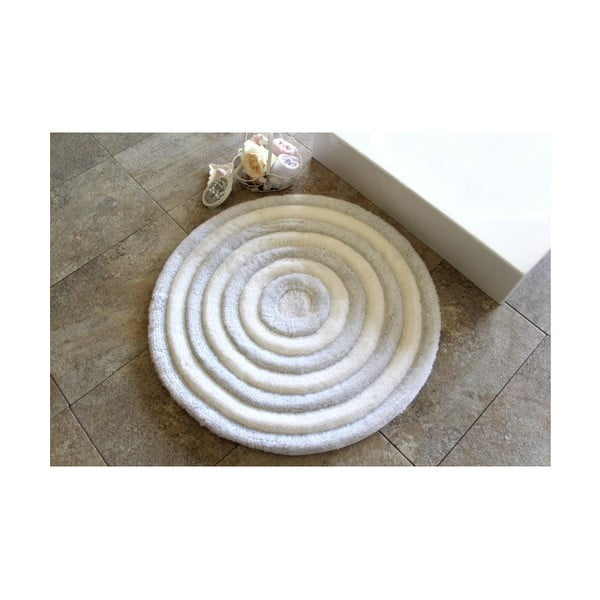 Biały dywanik łazienkowy Alessia Ecru, Ø 90 cm