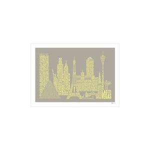 Plakat Las Vegas Grey&Yellow, 50x70 cm