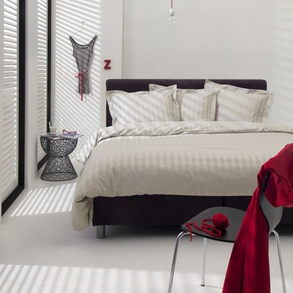 Jasnobeżowa bawełniana pościel dwuosobowa Damai Linea Ivory, 200x260cm