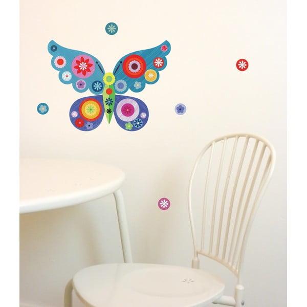 Naklejka wielokrotnego użytku Butterfly Mini Blue, 30x21 cm