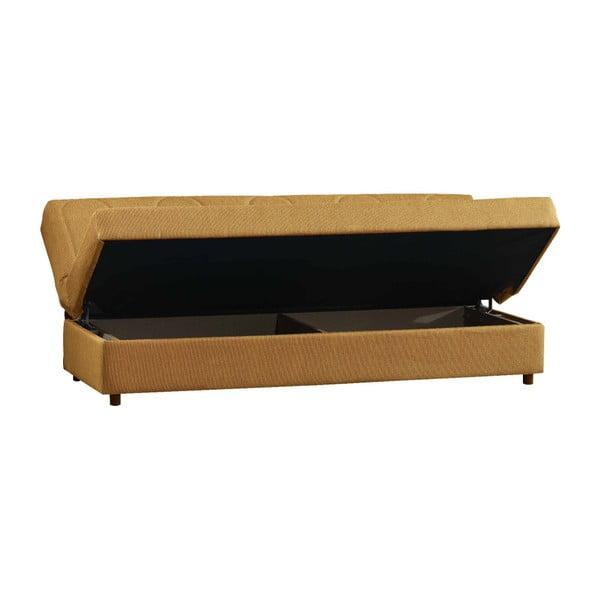 Żółtobrunatna trzyosobowa sofa rozkładana ze schowkiem Esidra Pause