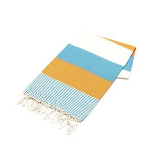 Pomarańczowo-Niebieski ręcznik Hammam Amerikan, 100x180cm