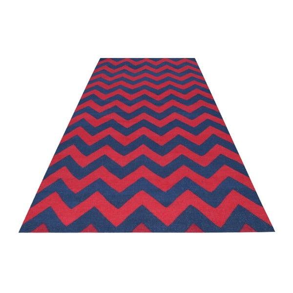 Wełniany dywan Kilim 06 Navy/Red, 160x240 cm