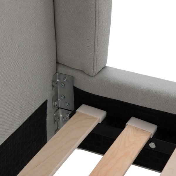 Jasnoszare łóżko z czarnymi nóżkami Vivonita Windsor, 160x200 cm