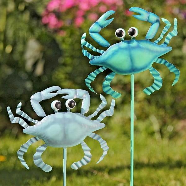 Zestaw 2 dekoracji do zatknięcia w ogrodzie Crab