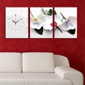 Obraz z zegarem Białe Orchidee