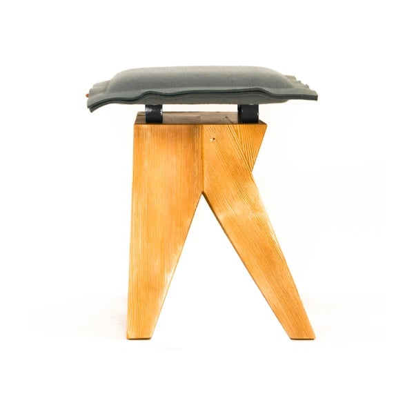 Drewniany stołek Low, szary