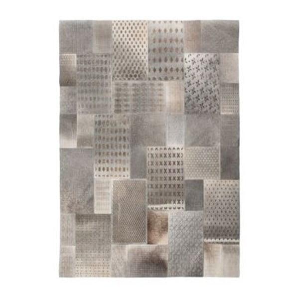 Szary skórzany dywan Ray,120x170cm