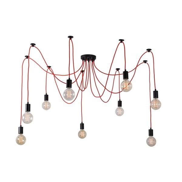 Czerwona lampa wisząca z 9 żarówkami Filament Style Spider