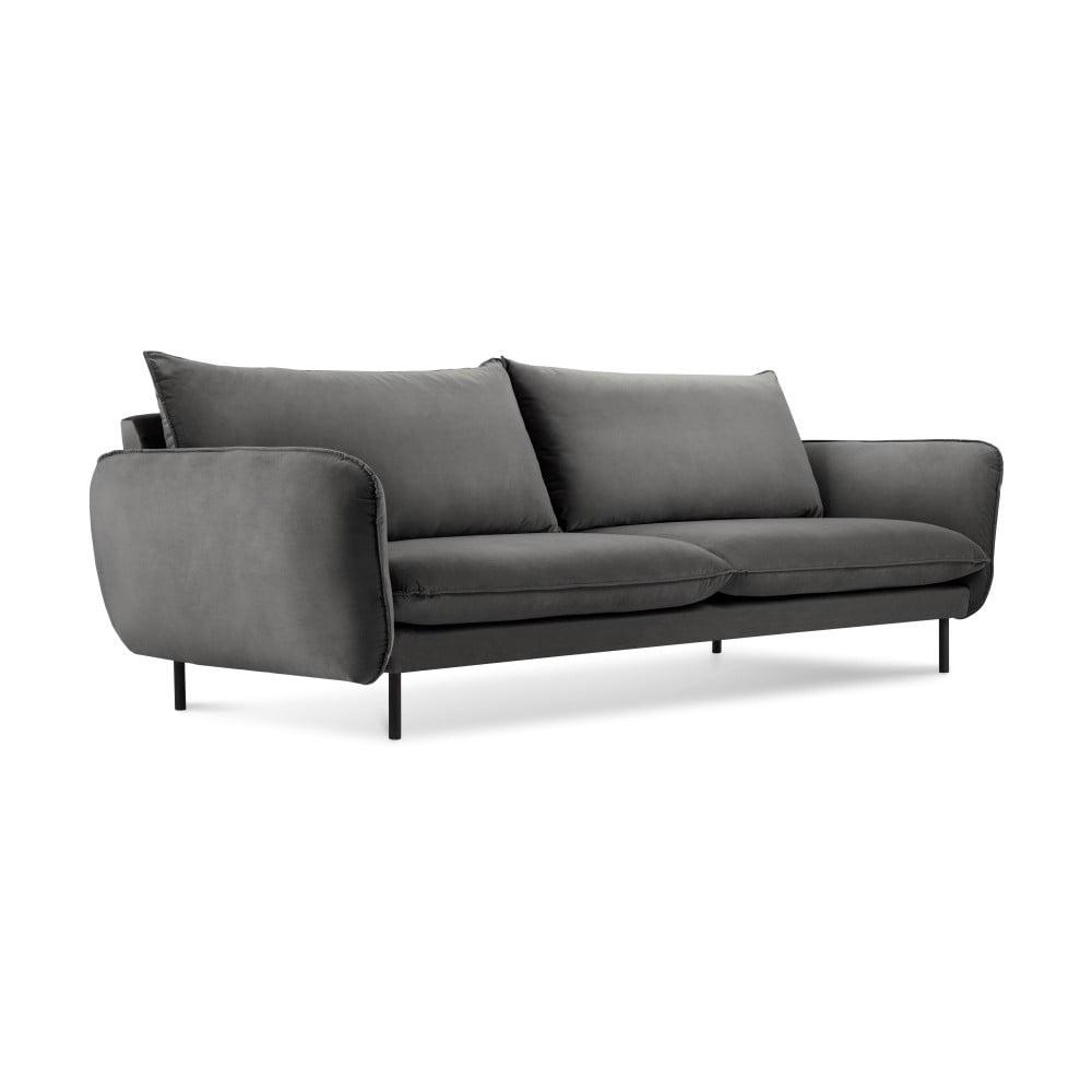 Ciemnoszara aksamitna sofa Cosmopolitan Design Vienna, 230 cm