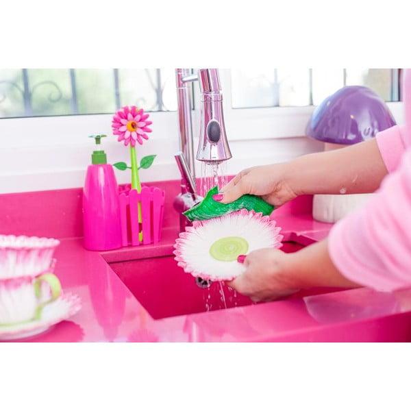 Różowy zestaw do mycia naczyń z dozownikiem Vigar Flower Power