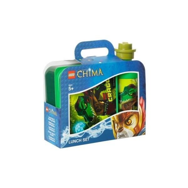 Pudełko śniadaniowe z butelką, Legend of Chima, zielone