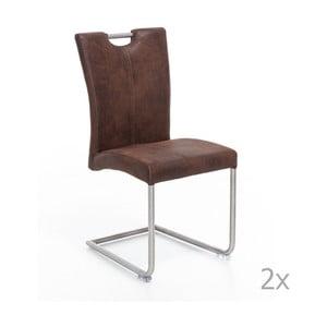 Zestaw 2 brązowych krzeseł Woodking Shot