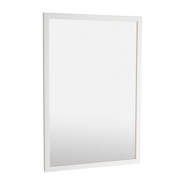 Białe lustro w ramie z drewna dębowego Folke Lodur