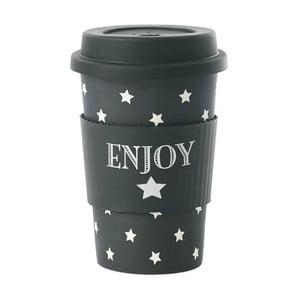 Bambusowy kubek podróżny Enjoy Black Stars, 0,5 l