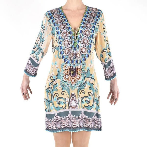 Sukienka plażowa Kurta, M, beżowo-niebieska