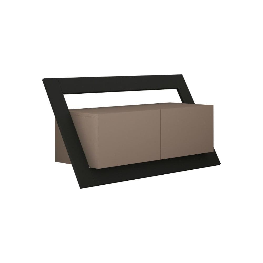 Brązowa szafka pod TV z antracytowym elementem Homitis Kayt