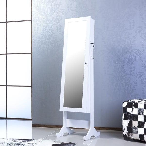 Zamykane lustro stojące ze schowkiem Emily, białe