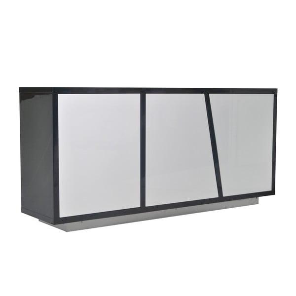 Czarna trzydrzwiowa komoda z białymi elementami 13Casa Art