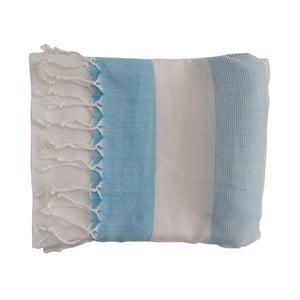 Niebieski ręcznie tkany ręcznik z bawełny premium Gokku,100x180 cm