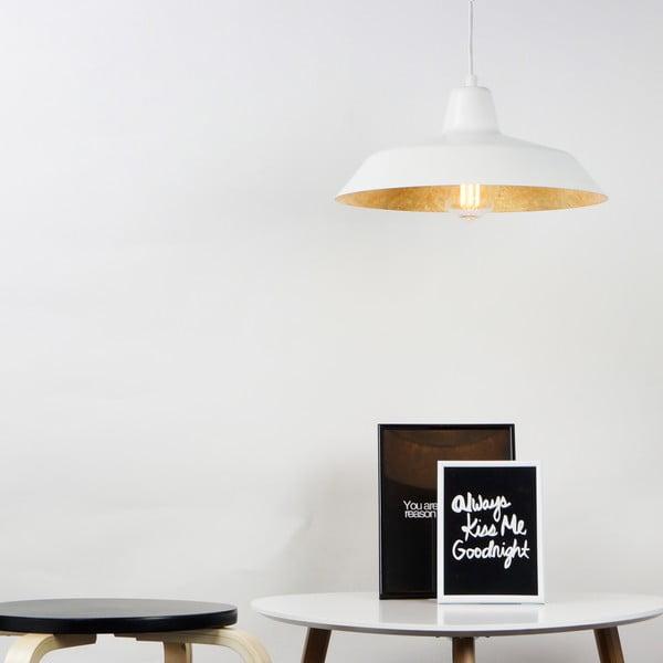 Biała lampa wisząca z wnętrzem w kolorze złota Bulb Attack Cinco