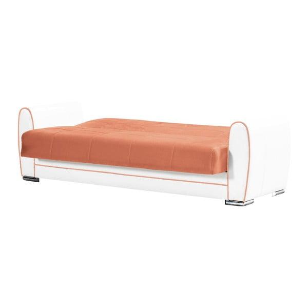 Ceglasto-kremowa trzyosobowa sofa rozkładana ze schowkiem Esidra Rest