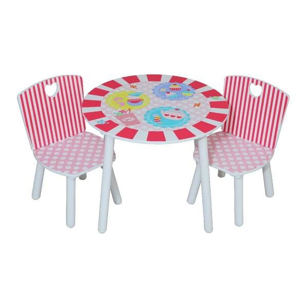 Dziecięcy stolik i dwa krzesła Patisserie