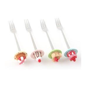Zestaw 4 widelczyków deserowych Słodkie babeczki