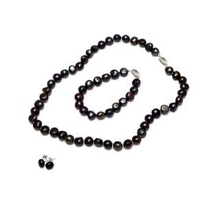 Komplet naszyjnika, kolczyków i bransoletki z pereł słodkowodnych Baroque, czarny