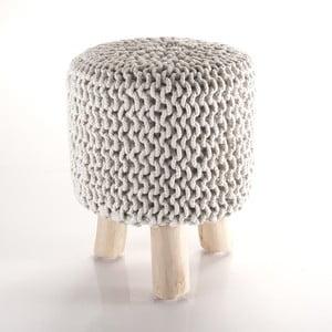 Kremowy taboret pleciony Tomasucci Knit