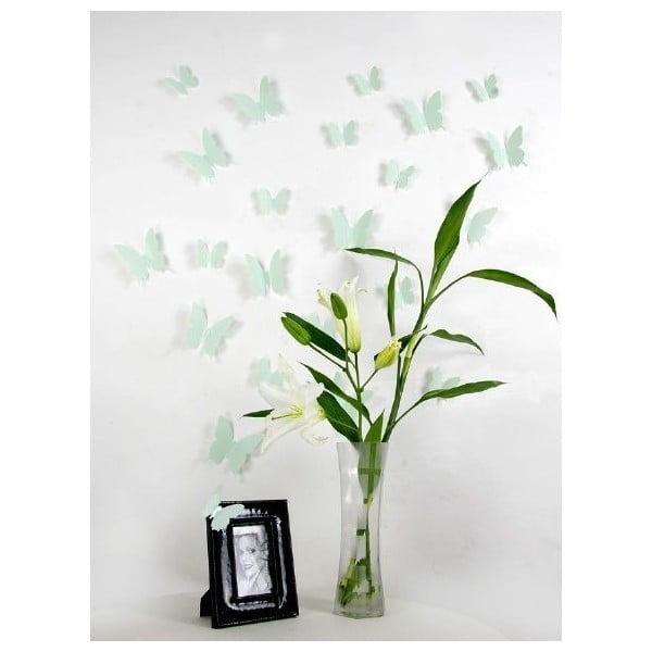 Zestaw 12 naklejek 3D Ambiance Mint Butterflies