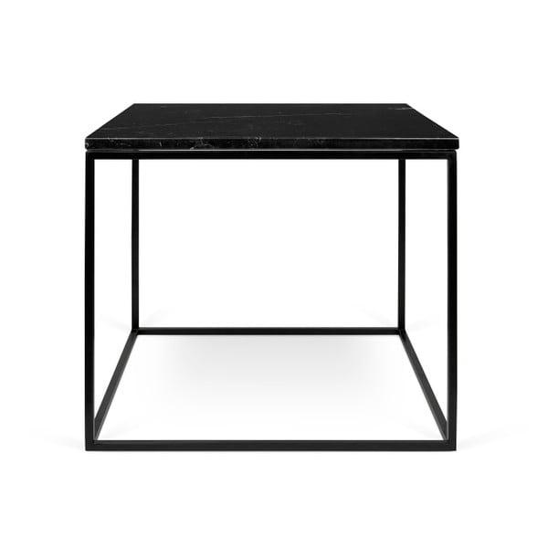 Czarny stolik marmurowy z czarnymi nogami TemaHome Gleam, 50 cm