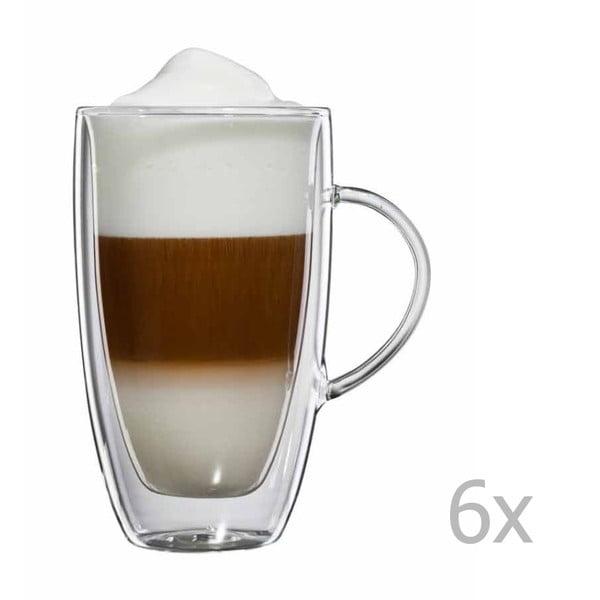 Zestaw  6 szklanych kubków na latte macchiato z uchem bloomix Verona