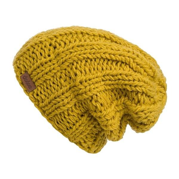 Musztardowa ręcznie tkana czapka DOKE Mina