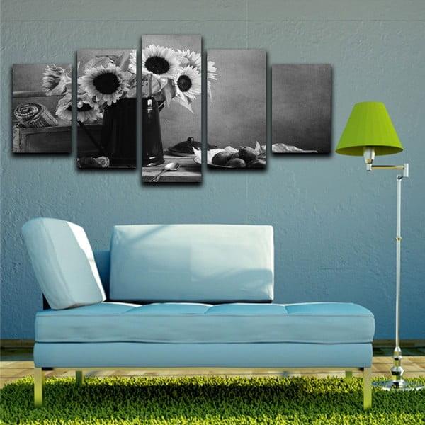Wieloczęściowy obraz Black&White Flowers, 100x50 cm