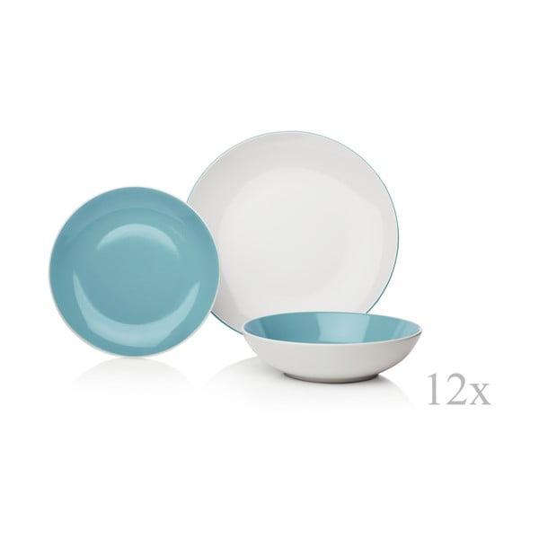 12-częściowy niebiesko-biały komplet naczyń Sabichi Duck Egg