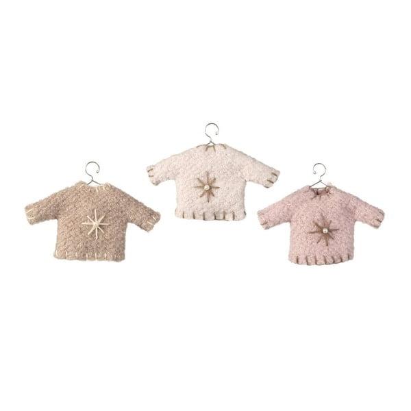 Zestaw 3 wiszących dekoracji Sweater Pink