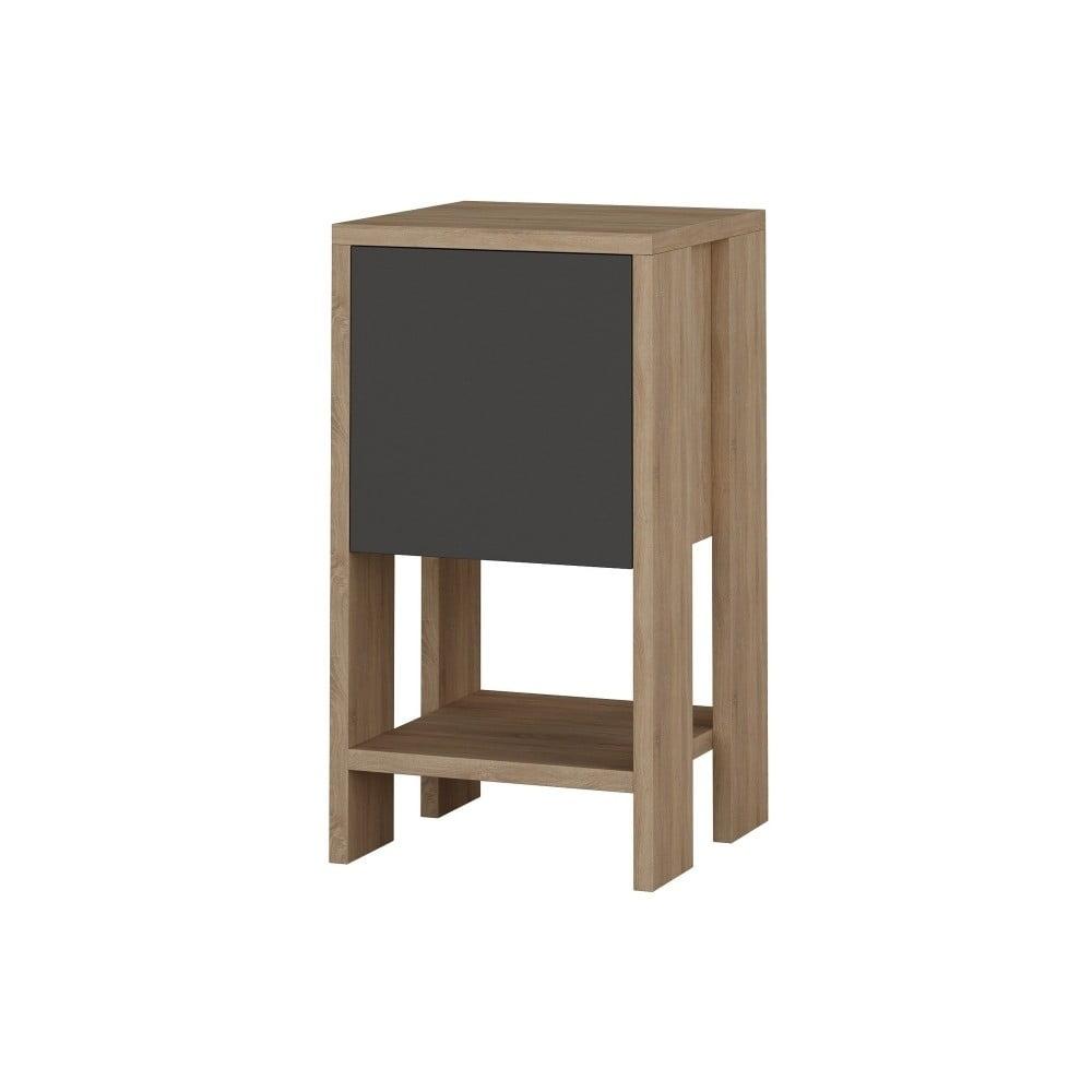 Antracytowa szafka nocna z detalami z dekorem drewna dębowego Garetto Ema