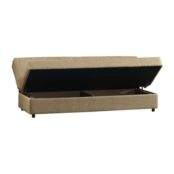 Beżowa trzyosobowa sofa rozkładana ze schowkiem Esidra Pause