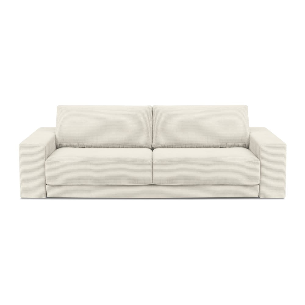 Beżowa sztruksowa sofa rozkładana Milo Casa Donatella