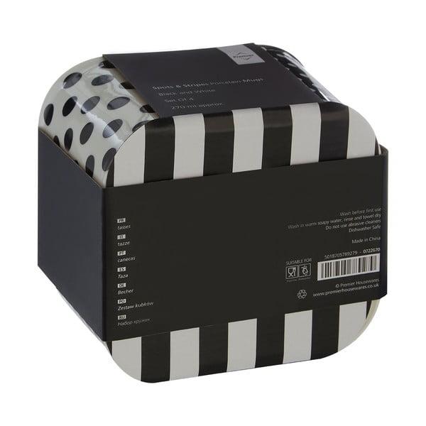 Zestaw 4 kubków Premier Housewares Spots and Stripes Black, 270 ml