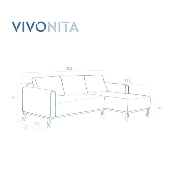 Miętowa prawostronna sofa narożna Vivonita Milton