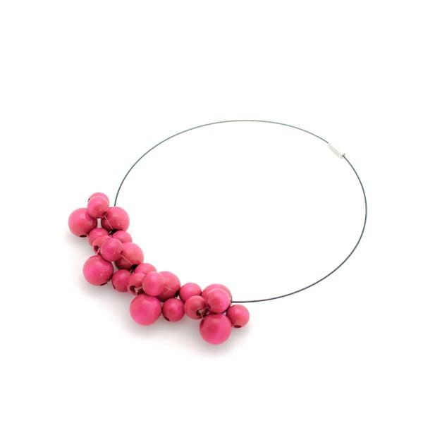 Różowy naszyjnik drewniany Ko–ra–le Bubbles
