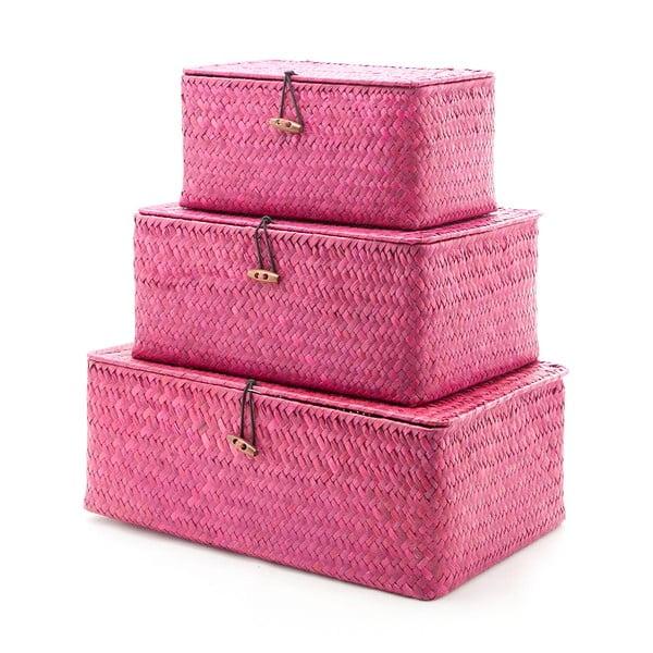 Zestaw 3 pudełek Balk Burgundy