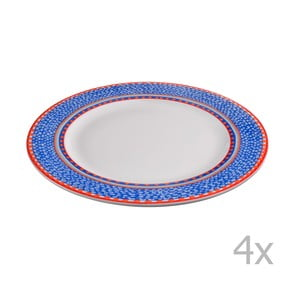 Komplet 4 talerzy porcelanowych Oilily 27 cm, niebieski