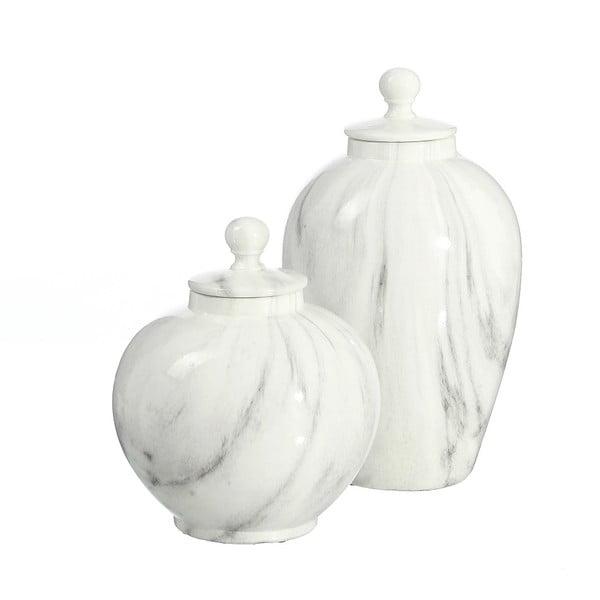 Ceramiczny pojemnik imitujący marmur Ixia Calderon, wysokość22,5cm