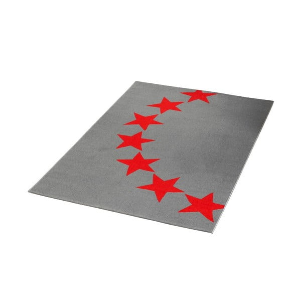 Dywan City & Mix - szary w czerwone gwiazdy, 140x200 cm