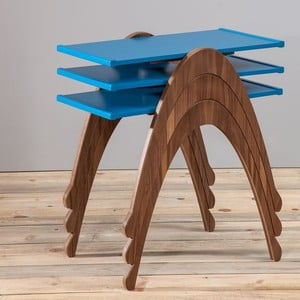 Zestaw 3 stolików Vega Nesting Blue/Walnut